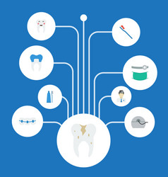 Flat icons dental crown decay halitosis and vector