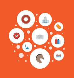 Flat icons government metropolis horse and other vector