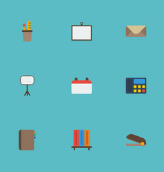 Flat icons puncher bookshop pen holder and other vector