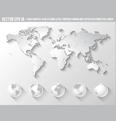 flat shadow world map with globes vector image