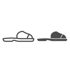 flip flops line and glyph icon summer shoes vector image