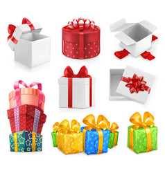 Gift boxes with bows 3d icon set vector