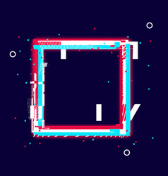glitch glow square frame distorted shape vector image