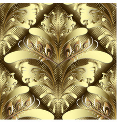 Gold floral 3d damask seamless pattern vector