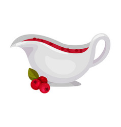Gravy boat with cranberry sauce vector