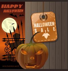 Halloween sale halloween card with jack o lantern vector