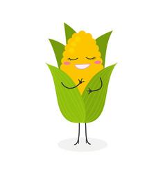 happy cartoon corn vector image