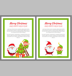 happy new year and merry christmas elf and santa vector image