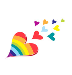 hearts in rainbow colors vector image