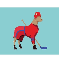 Hockey Dog Mascot in Red Sportswear vector image