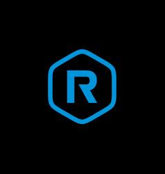 initial r hexagon logo template vector image