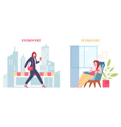 Introvert and extrovert individuality people vector
