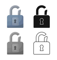 Isolated object padlock and crack logo vector