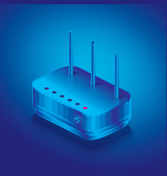 isometric network router outline wifi wireless vector image
