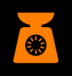 kitchen scales sign orange icon on black vector image