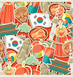 korea seamless pattern korean traditional sticker vector image