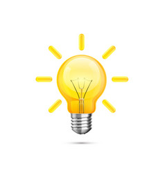 lamp idea icon object yellow light vector image