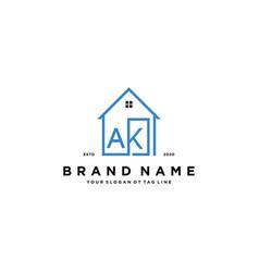Letter ak home logo design concept vector