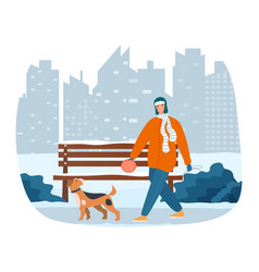 Male character is going for a walk with dog vector