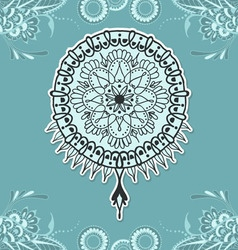 Mehndy flowers tattoo template on blue background vector