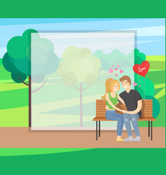 Merry couple sits on bench tenderly holding hands vector
