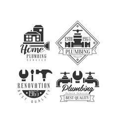 monochrome emblems for plumbing and home vector image