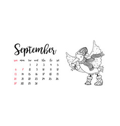 Monthly desk calendar template for month september vector