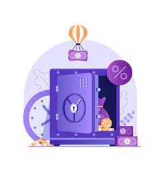 Online bank money deposit concept in flat design vector