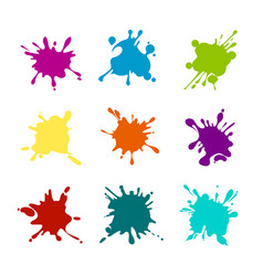 Paint splashes of various colors vector