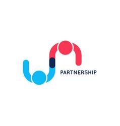 Partnership business logo teamwork logo on white vector