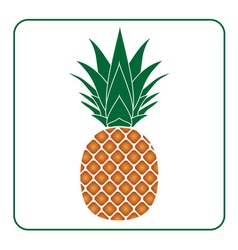 Pineapple with leaf icon color Tropical fruit vector image