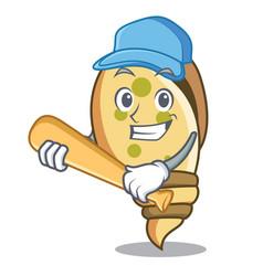 playing baseball sea shell character cartoon vector image