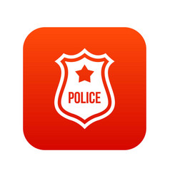police badge icon digital red vector image