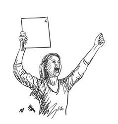 protest woman with blank sign board is screaming vector image