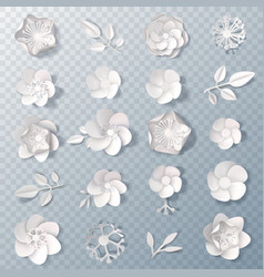 Realistic paper flowers transparent set vector