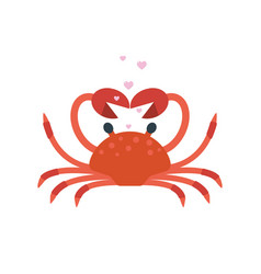 red crab pose hands in shape heart vector image