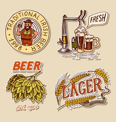 retro bavarian beer man green hops rye and vector image