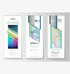 Roll up banner stands geometric flat style vector