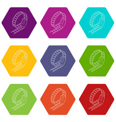 Rollercoaster icons set 9 vector