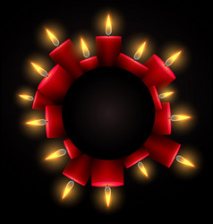 Round frame with red luminous candles and place vector