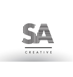 Sa s a black and white lines letter logo design vector