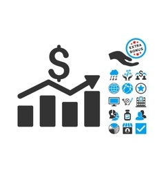 Sales Chart Flat Icon With Bonus vector image