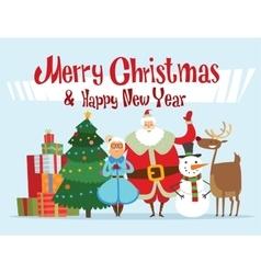 Santa Missis Claus elf kids helpers family vector