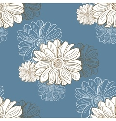 Seamless Pattern With Hand Drawn Camomiles vector image