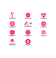 set abstract flower logo icon design vector image