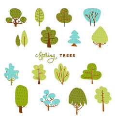 set hand draw differend trees in scandinavian vector image