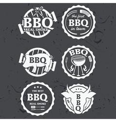set of bbq labels on chalkboard vector image