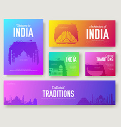 set of india cultural country and landmarks vector image