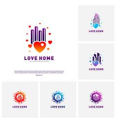 set of modern city love logo design concept vector image