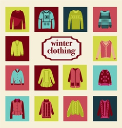 Set of winter fashion clothing collection vector